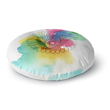 East Urban Home Sonal Nathwani 'Rainbow Spiro' Round Floor Pillow; 23'' x 23''