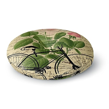 East Urban Home Suzanne Carter 'Vintage Cycle' Floral Round Floor Pillow; 26'' x 26''