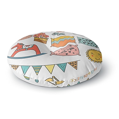 East Urban Home Petit Griffin 'Room' Round Floor Pillow; 26'' x 26''
