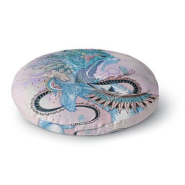 East Urban Home Mat Miller 'Journeying Spirit, Ermine' Fantasy Round Floor Pillow; 26'' x 26''