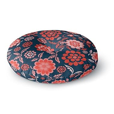 East Urban Home Nicole Ketchum 'Cherry Floral Midnight' Round Floor Pillow; 23'' x 23''