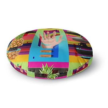 East Urban Home Roberlan 'Triptic' Abstract Pop Art Round Floor Pillow; 26'' x 26''