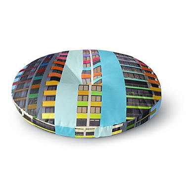 East Urban Home Philip Brown 'The Rainbow Building' Modern Round Floor Pillow; 23'' x 23''