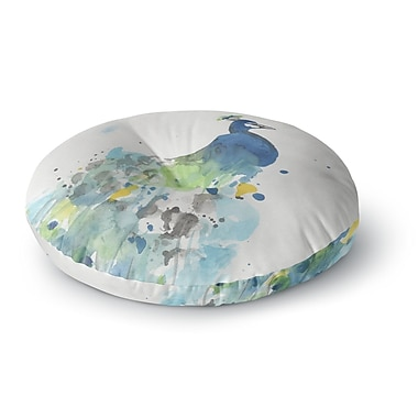 East Urban Home Rebecca Bender 'Abstract Watercolor Peacock' Round Floor Pillow; 23'' x 23''