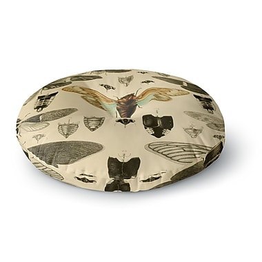 East Urban Home Suzanne Carter 'Vintage Cicada' Bugs Round Floor Pillow; 26'' x 26''