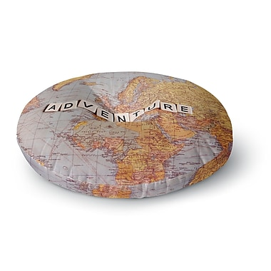 East Urban Home Sylvia Cook 'Adventure Map' World Round Floor Pillow; 23'' x 23''