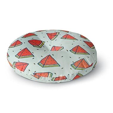 East Urban Home Strawberringo 'Watermelon Pattern Summer Love' Fruit Food Round Floor Pillow
