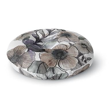 East Urban Home Sonal Nathwani 'Gray Bouquet' Illustration Round Floor Pillow; 26'' x 26''