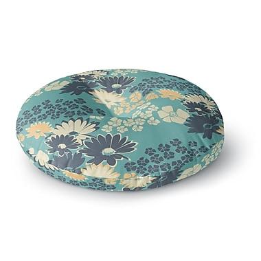 East Urban Home Zara Martina Mansen 'Teal Color Bouquet' Round Floor Pillow; 26'' x 26''