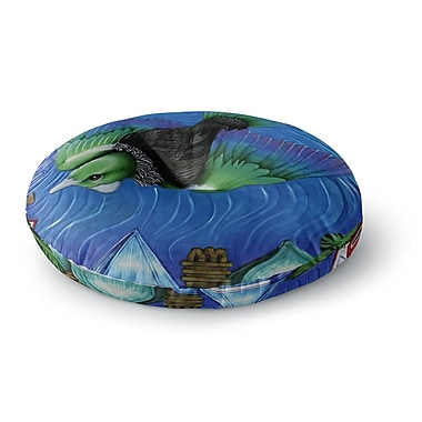 East Urban Home Vinny Thompson 'Tui Flying in Pacific Skies' Round Floor Pillow; 23'' x 23''