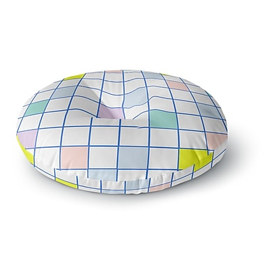 East Urban Home Vasare Nar 'Pastel Windowpane Grid' Round Floor Pillow; 23'' x 23''