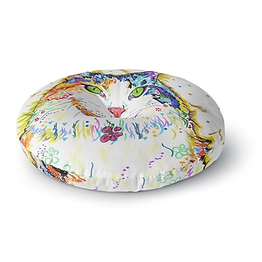 East Urban Home Rebecca Fischer 'Royal' Rainbow Cat Round Floor Pillow; 26'' x 26''