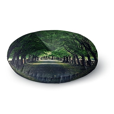 East Urban Home Robin Dickinson 'Welcome Home' Trees Round Floor Pillow; 26'' x 26''