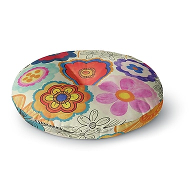 East Urban Home Louise Machado 'Charming Floral' Floral Round Floor Pillow; 23'' x 23''