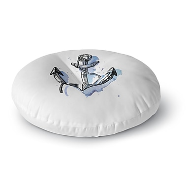 East Urban Home 'Anchor Watercolor' Round Floor Pillow; 26'' x 26''