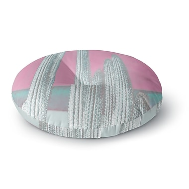 East Urban Home Suzanne Carter 'Cactus-Pink' Digital Round Floor Pillow; 26'' x 26''