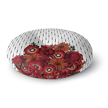 East Urban Home Tobe Fonseca 'Spring Pattern Dotted Lines Red' Mixed Media Round Floor Pillow