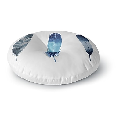 East Urban Home Strawberringo 'Three Feathers' Round Floor Pillow; 23'' x 23''