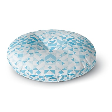 East Urban Home Vasare Nar 'Light Blue Geometric' Digital Round Floor Pillow; 26'' x 26''