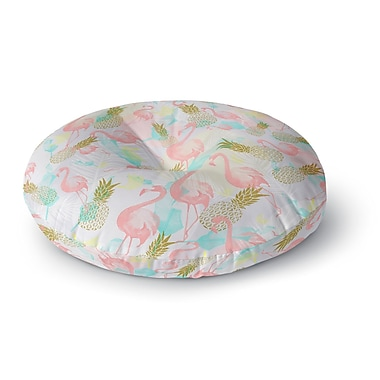 East Urban Home Mmartabc 'Tropical Fruit Animals' Illustration Round Floor Pillow; 23'' x 23''
