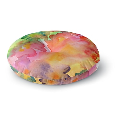 East Urban Home Louise Machado 'Spring Colors' Watercolor Floral Round Floor Pillow; 23'' x 23''