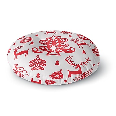 East Urban Home Miranda Mol 'Frosted Landscape White' Holiday Round Floor Pillow; 23'' x 23''
