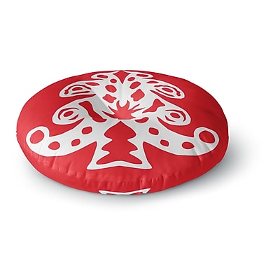 East Urban Home Miranda Mol 'Noble Pine Red' Holiday Round Floor Pillow; 26'' x 26''