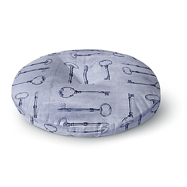 East Urban Home Marianna Tankelevich 'Secret Keys Blue' Round Floor Pillow; 23'' x 23''