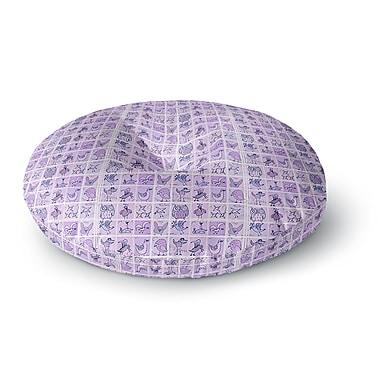 East Urban Home Marianna Tankelevich 'Cute Birds Purple' Round Floor Pillow; 26'' x 26''