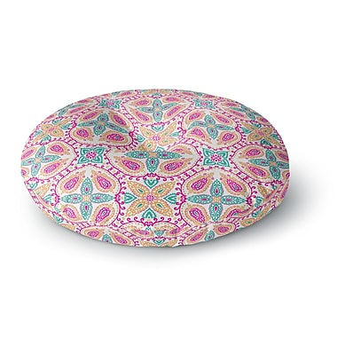 East Urban Home Nandita Singh 'Boho in Multicolor' Abstract Round Floor Pillow; 26'' x 26''