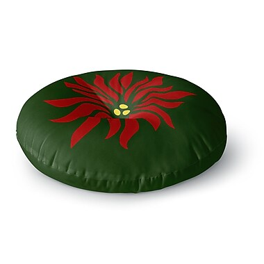 East Urban Home NL Designs 'Poinsettia' Round Floor Pillow; 23'' x 23''