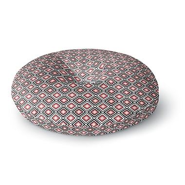 East Urban Home Nandita Singh 'Bright Squares-Coral' Round Floor Pillow; 26'' x 26''