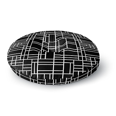East Urban Home Project M 'Map Outline Black' Simple Geometric Round Floor Pillow; 26'' x 26''