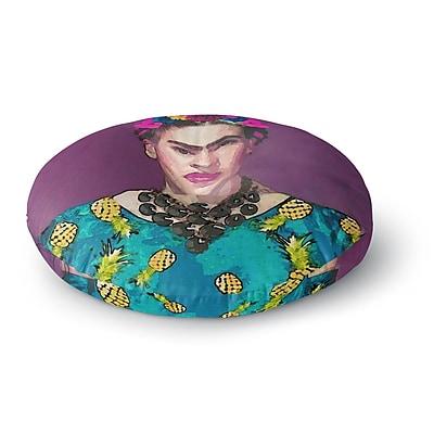 East Urban Home Oriana Cordero 'Trendy Frida Kahlo' Round Floor Pillow; 23'' x 23''