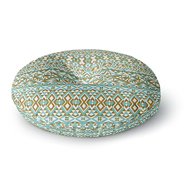 East Urban Home Pom Graphic Design 'Mint & Gold Tribals' Round Floor Pillow; 23'' x 23''