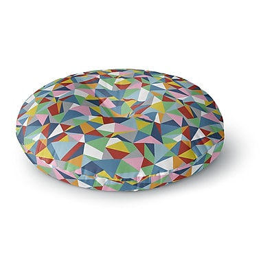 East Urban Home Project M 'Abstraction' Rainbow Abstract Round Floor Pillow; 23'' x 23''