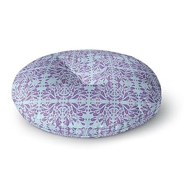 East Urban Home Rosie Brown 'Blue Purple Bloom' Mixed Media Round Floor Pillow; 26'' x 26''