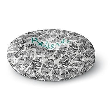 East Urban Home Pom Graphic Design 'Believe' Round Floor Pillow; 23'' x 23''