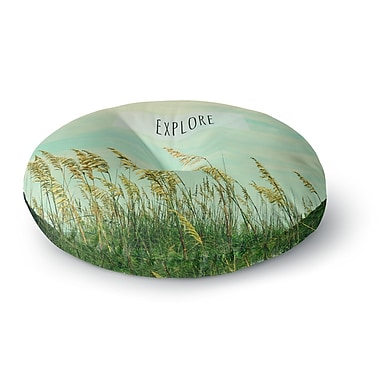 East Urban Home Robin Dickinson 'Explore' Quote Round Floor Pillow; 26'' x 26''