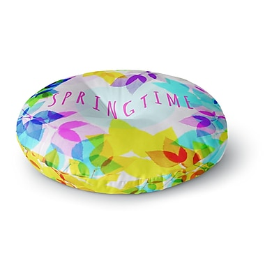 East Urban Home Sreetama Ray 'Seasons Springtime' Rainbow Leaves Round Floor Pillow; 26'' x 26''
