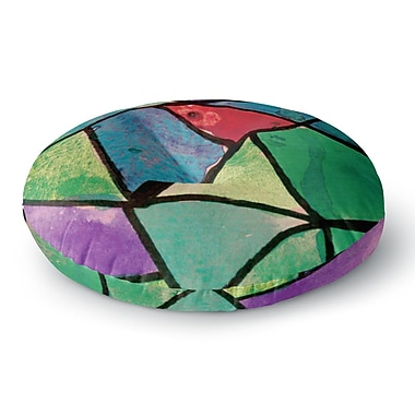 East Urban Home Theresa Giolzetti 'Stain Glass 1' Round Floor Pillow; 26'' x 26''