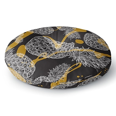 East Urban Home Sam Posnick 'Pineapple Splash' Illustration Round Floor Pillow; 26'' x 26''