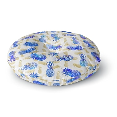 East Urban Home Noonday Design 'Pineapple Party' Illustration Round Floor Pillow; 23'' x 23''