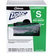 "Ziploc Sandwich Bags, 6"" Width x 6.50"" Length x 1.20 mil (30 Micron) Thickness, Clear, 1Carton, 500 Per Carton, Sandwich, Food"