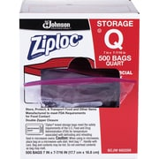 Ziploc Quart Storage Bags, Medium Size, 1 quart, x 1.75 mil (44 Micron) Thickness, Clear, 1Box, 500 Per Box, Food