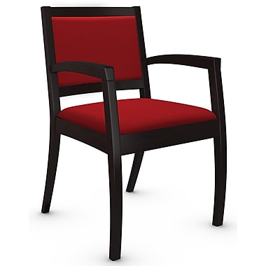 Global Beach Armchair w Espresso Cafe Wood Frame, Imprint, Candy Apple Fabric (RED)