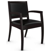 Global Beach Armchair w Espresso Cafe Wood Frame, LeatherMock Leather Combination, Black (BLACK)