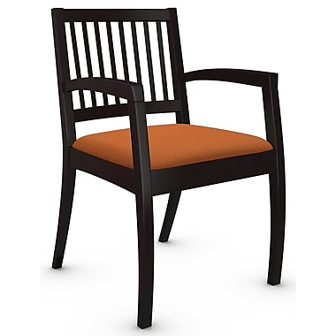 Global Beach Armchair w Vertical Wood Slat Back and Espresso Cafe Wood Frame, Imprint, Paprika Fabric (ORANGE)