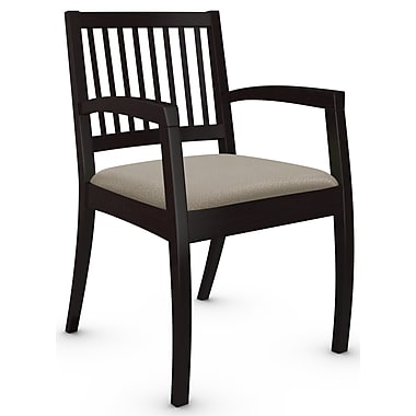 Global Beach Armchair w Vertical Wood Slat Back and Espresso Cafe Wood Frame, Match