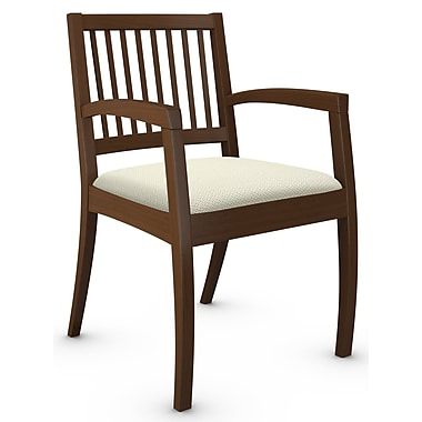 Global Beach Armchair w Vertical Wood Slat Back and Shaker Cherry Wood Frame, Terrace